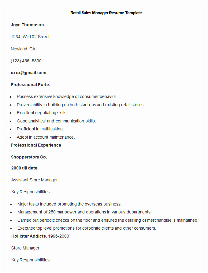 Retail Store Manager Resume Elegant Sales Resume Template – 41 Free Samples Examples format