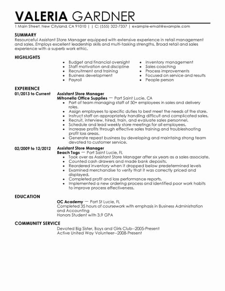 Retail Store Manager Resume Inspirational 11 Amazing Retail Resume Examples