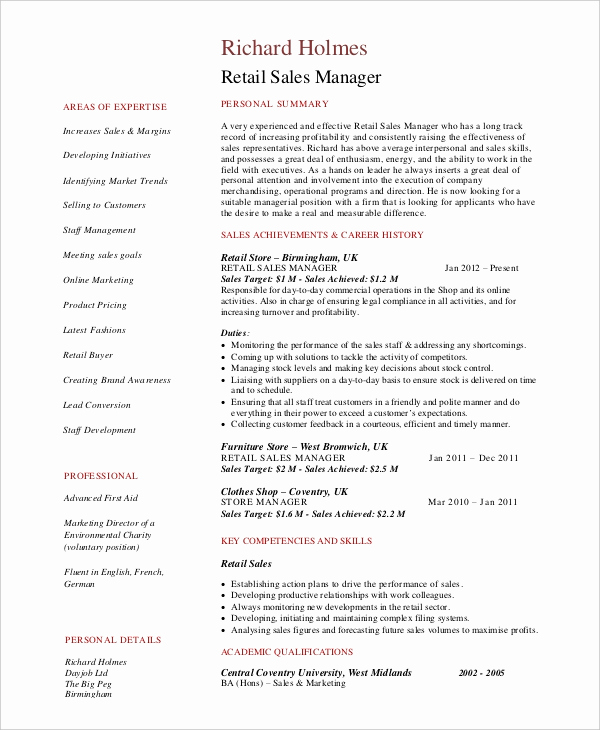 Retail Store Manager Resume Inspirational 8 Retail Manager Resumes Free Sample Example format