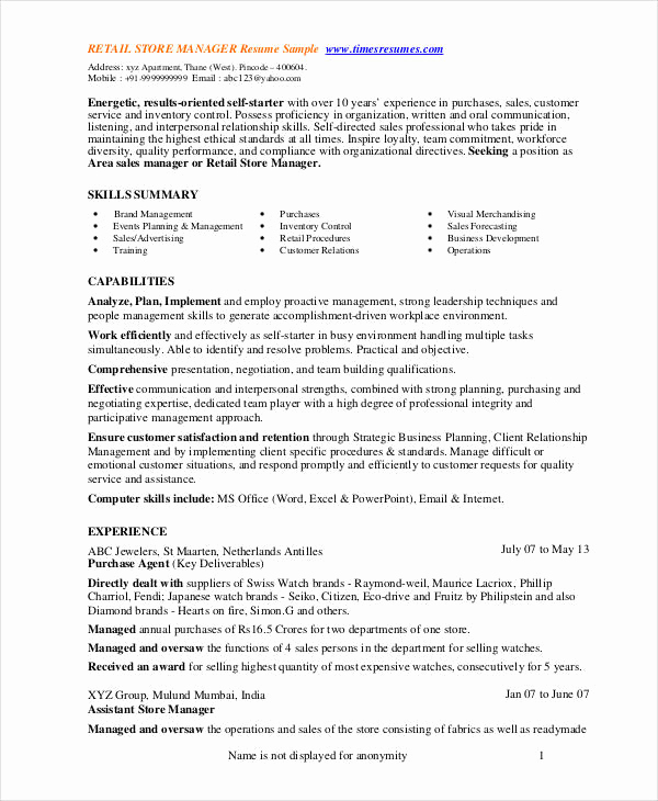 Retail Store Manager Resume Inspirational Store Manager Resume 9 Free Pdf Word Documents