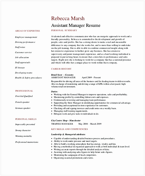Retail Store Manager Resume Lovely Retail Manager Resume Examples