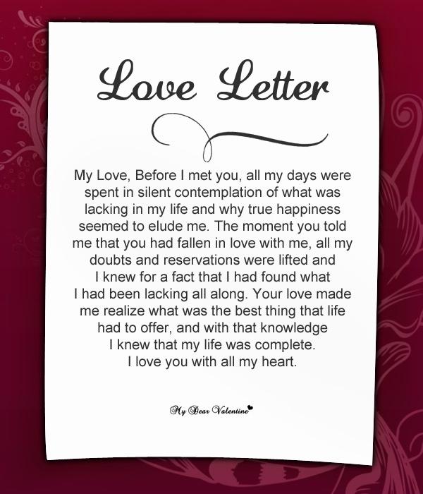 Romantic Love Letters for Her Elegant Love Letter