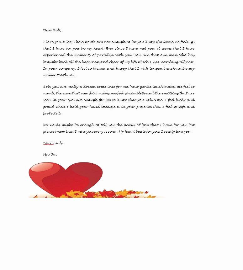 Romantic Love Letters for Her Elegant Love Letter Template