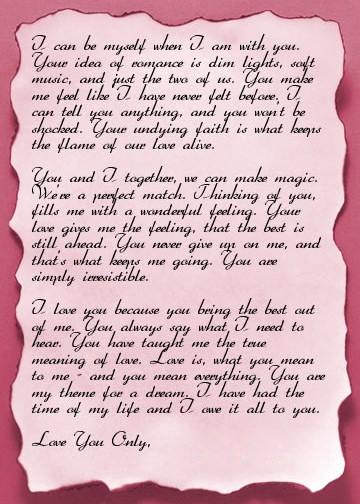 Romantic Love Letters for Her Elegant Love Letter Template