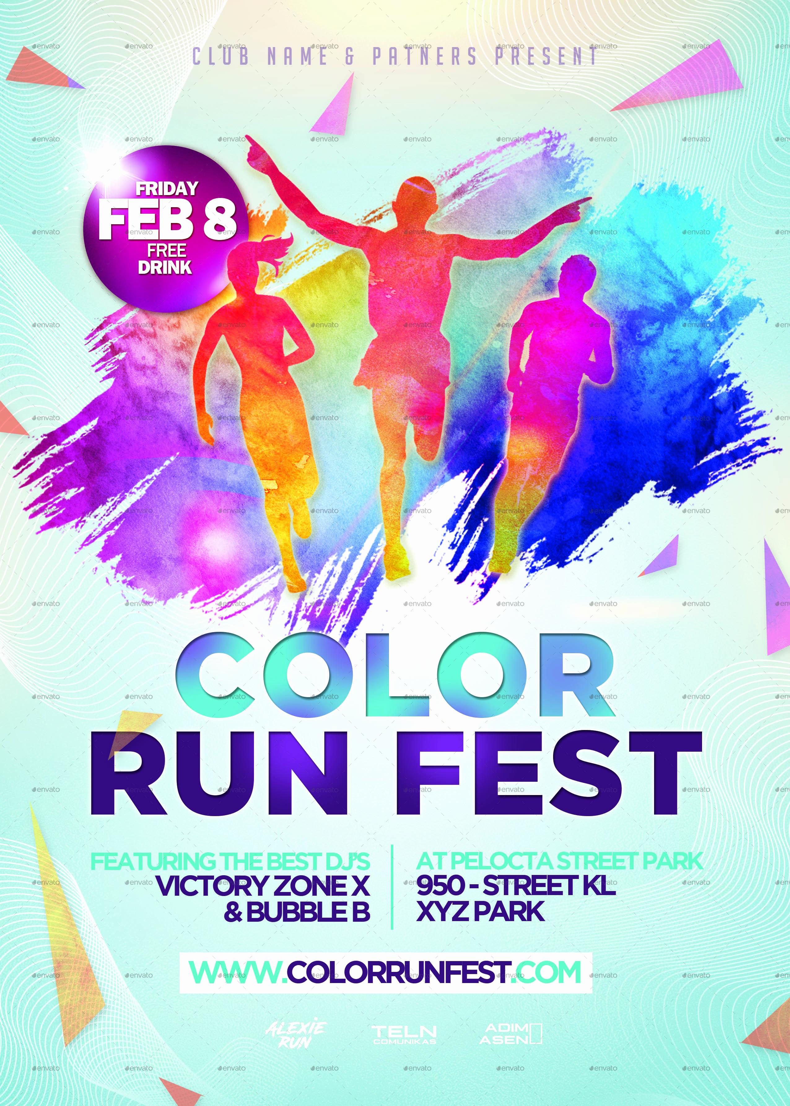 Run Of Show Template Lovely Color Run Festival Flyer Template by Adimasen
