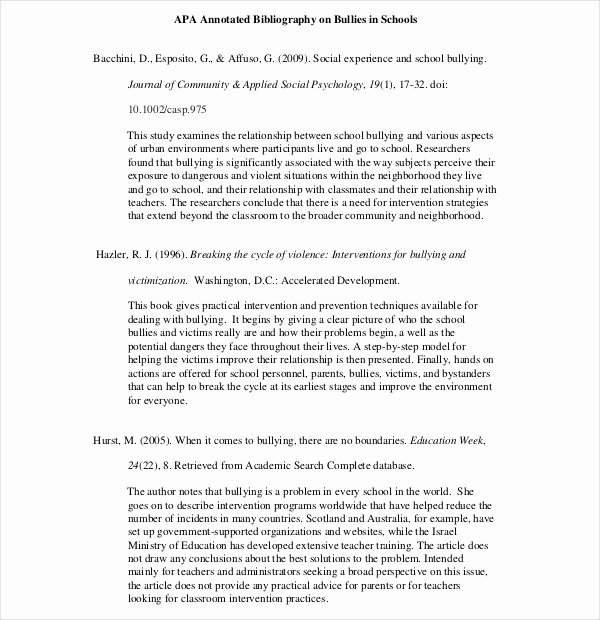 Sample Apa Annotated Bibliography Awesome 10 Simple Annotated Bibliography Templates – Free Sample