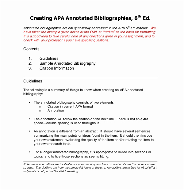 Sample Apa Annotated Bibliography Fresh 10 Free Annotated Bibliography Templates – Free Sample