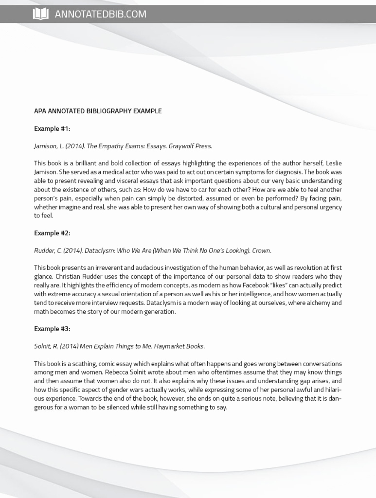 Sample Apa Annotated Bibliography Lovely See Annotated Bibliography Sample Apa Here