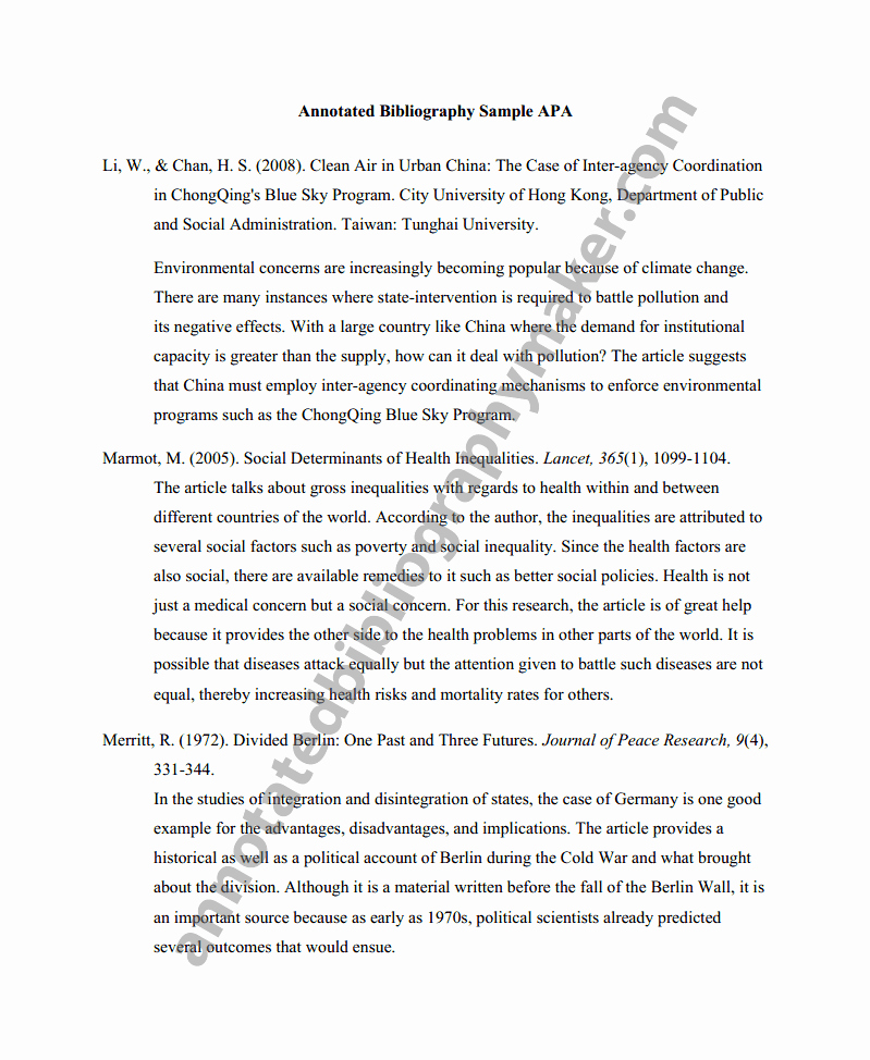Sample Apa Annotated Bibliography Luxury Annotated Bibliography Apa
