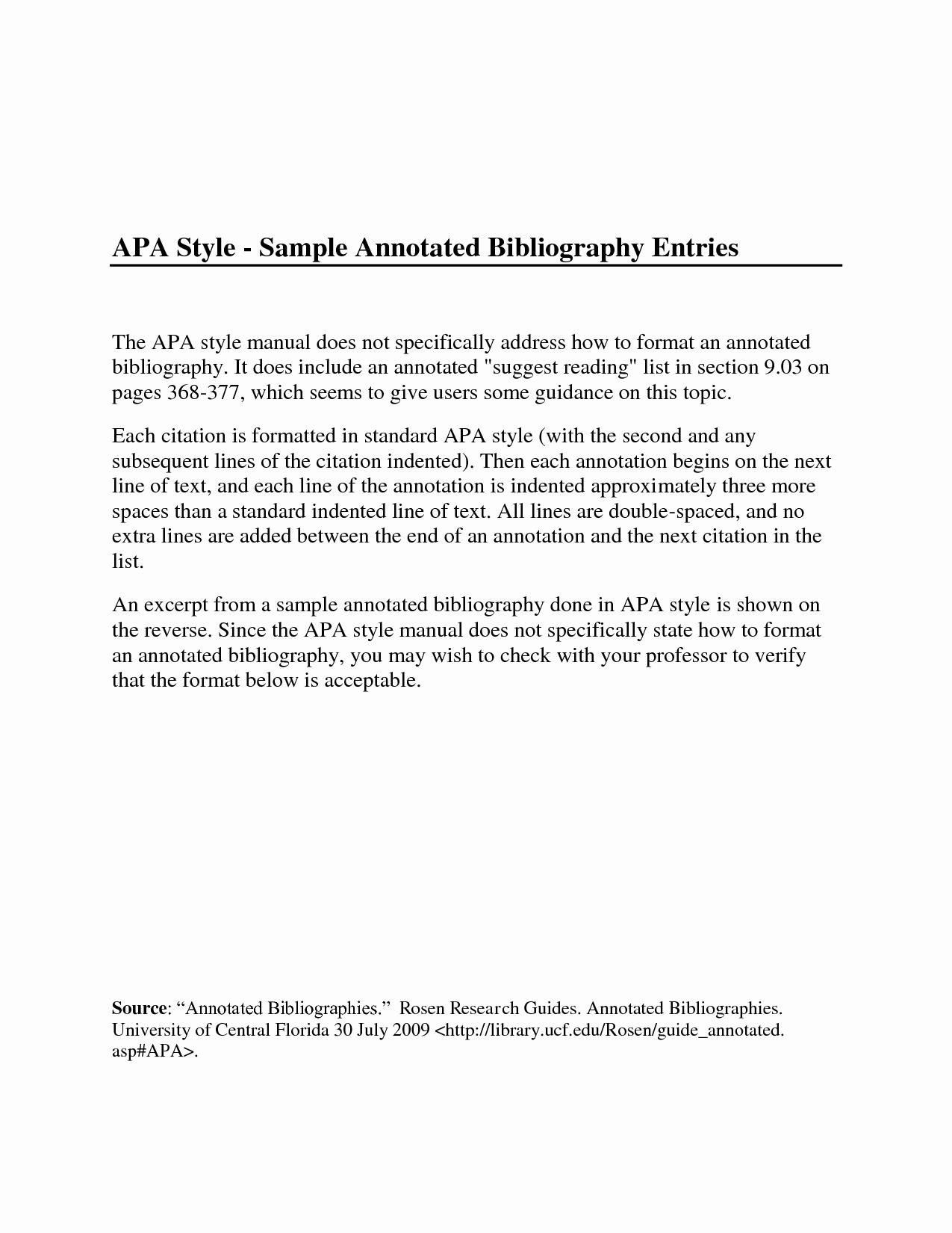 Sample Apa Annotated Bibliography New original Papers Annotated Bibliography Example Mla