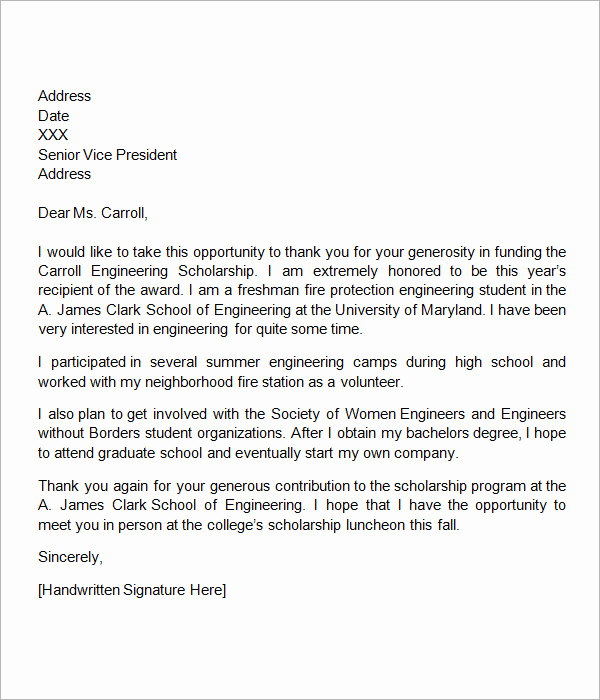 Scholarship Thank You Letter Examples Best Of Scholarship Thank You Letter 11 Download Documents In