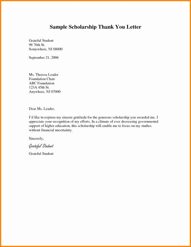 Scholarship Thank You Letter Examples Elegant Scholarship Thank You Letters Sample