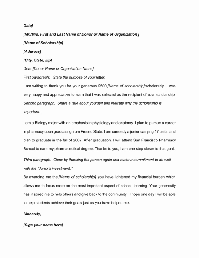 Scholarship Thank You Letter Examples Fresh 9 Best Scholarship Thank You Letter Samples & Examples