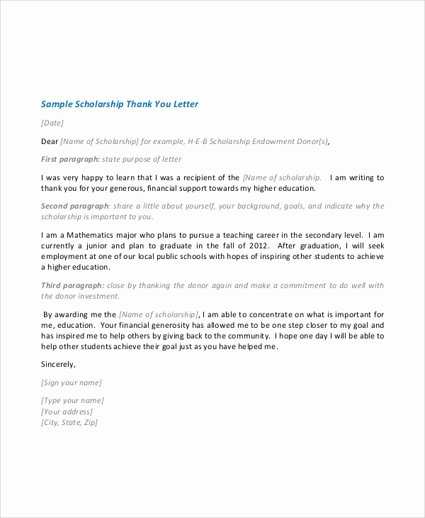 Scholarship Thank You Letter Examples Lovely Sample Scholarship Acceptance Letter 6 Documents In Pdf