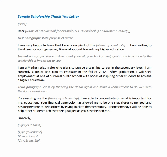 Scholarship Thank You Letter Examples Unique 13 Sample Scholarship Thank You Letters Doc Pdf