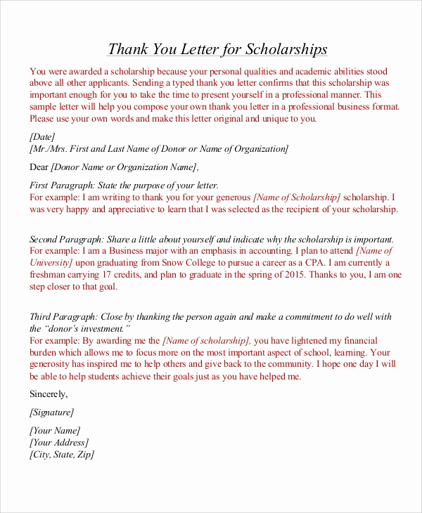 Scholarship Thank You Letter Examples Unique 7 Thank You Letter for Scholarship Samples