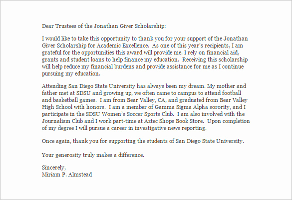 Scholarship Thank You Letter Examples Unique Scholarship Thank You Letter – 8 Free Word Excel Pdf