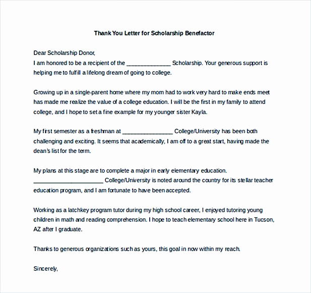 Scholarship Thank You Letter Examples Unique Scholarship Thank You Letter for Further Gratitude