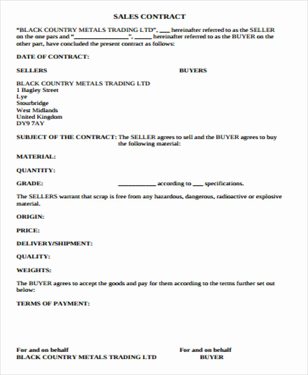 Simple Real Estate Contract Awesome Simple Sales Contract Sample 10 Examples In Word Pdf