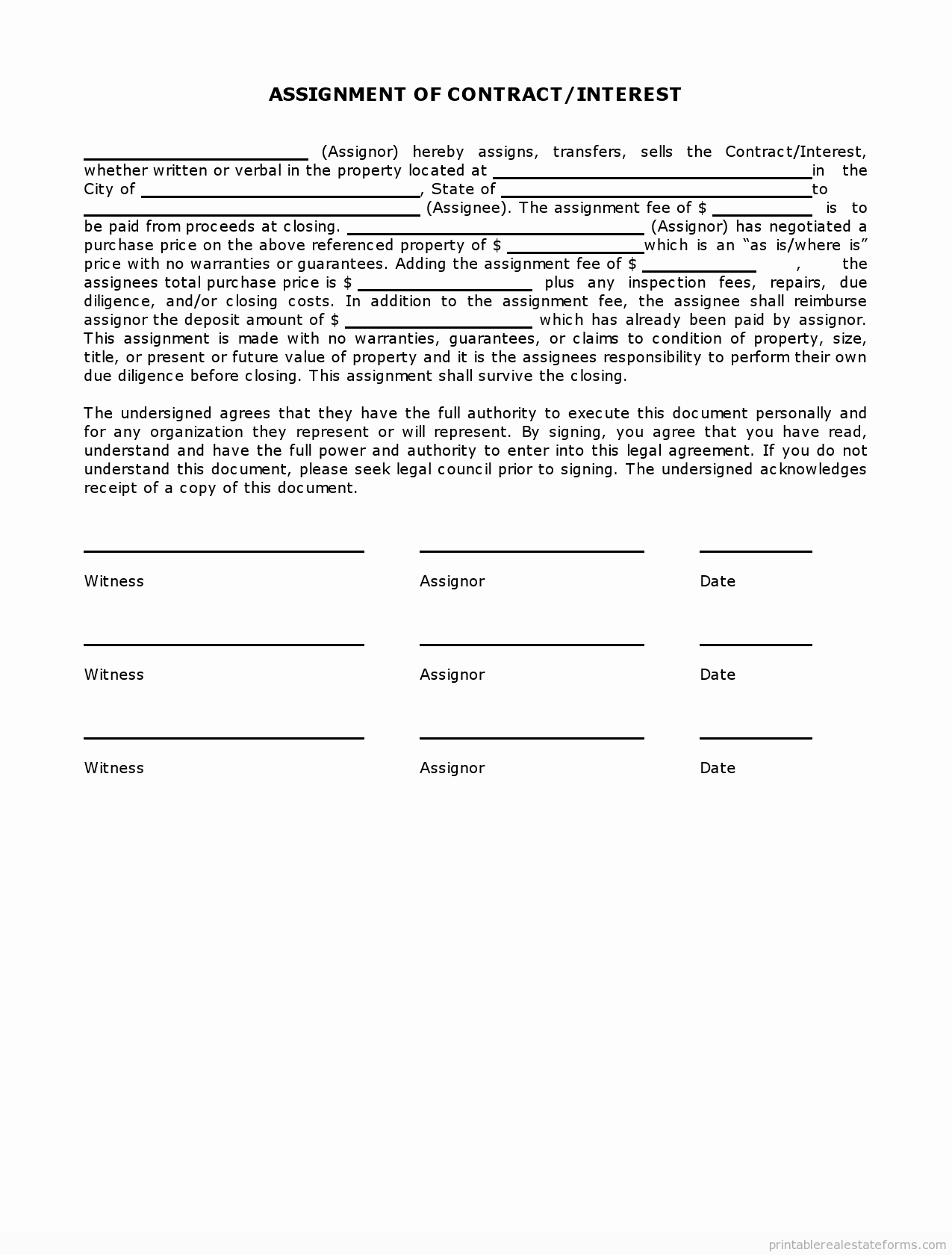 Simple Real Estate Contract Inspirational Simple assignment Of Contract Interest In Estate Pdf