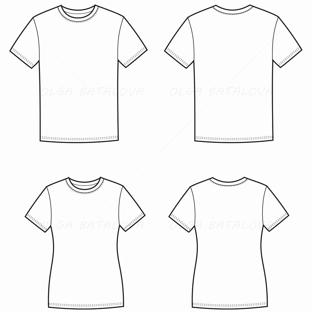 T Shirt Template Illustrator Elegant Women S and Men S T Shirt Fashion Flat Templates