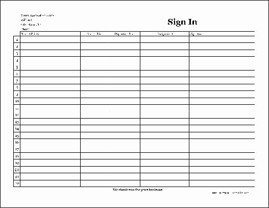 Volunteer Sign In Sheet Awesome Free Easy Copy Basic Pany Volunteer Sign In Sheet with