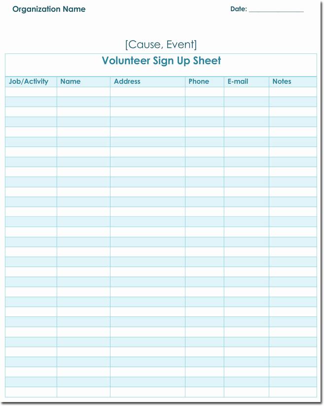 Volunteer Sign In Sheet Beautiful Signup Sheet Templates 40 Sheets