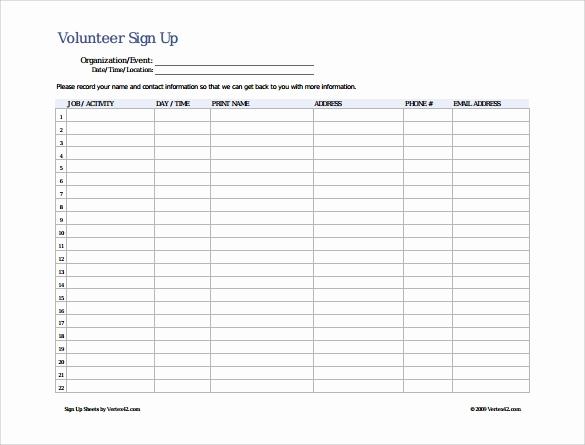 Volunteer Sign In Sheet Best Of 13 Sign Up Sheet Samples