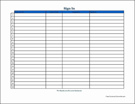 Volunteer Sign In Sheet Elegant Free Simple Volunteer Sign In Sheet with Signature Wide