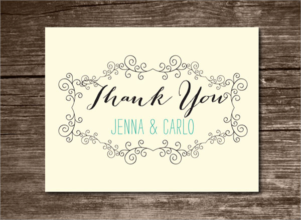 Wedding Thank You Card Template Inspirational 23 Printable Thank You Card Templates to Download