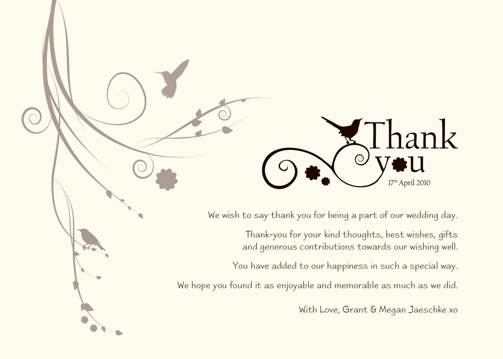 Wedding Thank You Card Template Inspirational Thank You Wedding Wording Did Not attend
