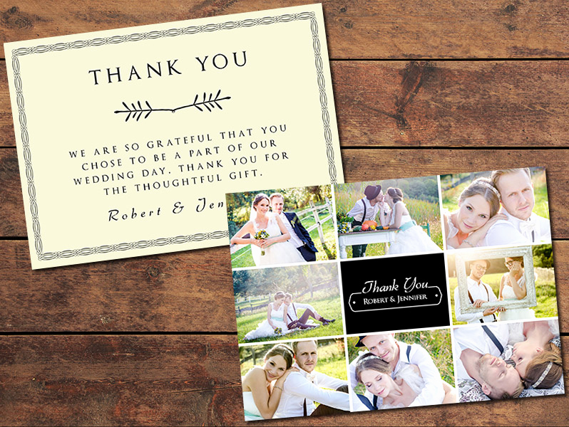 Wedding Thank You Card Template Lovely Collage Thank You Card Graphypla