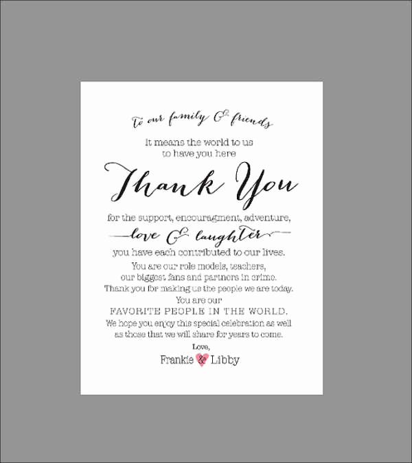 Wedding Thank You Card Template Luxury 70 Thank You Card Designs