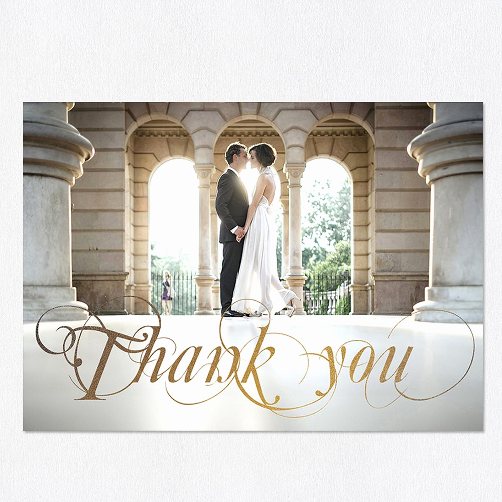 Wedding Thank You Card Template Luxury Golden Days