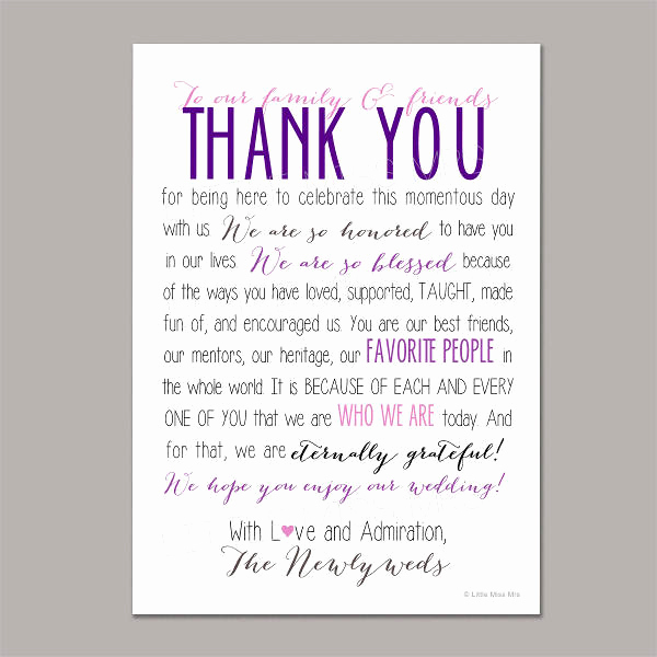 Wedding Thank You Note Template Awesome 8 Thank You Wedding Program Templates Psd Vector Eps