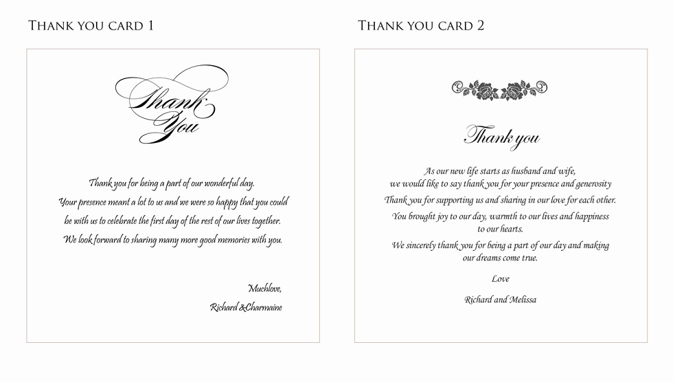 Wedding Thank You Note Template Awesome Wedding Thank You Card Ideas fortworthweddingmall