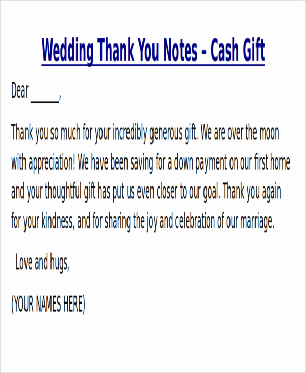 Wedding Thank You Note Template Beautiful Sample Thank You Note for Money 7 Examples In Word Pdf
