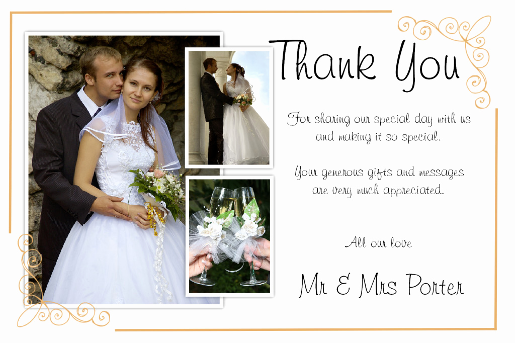 Wedding Thank You Note Template Inspirational Unique Diy Wedding Thank You Card Ideas – Weddings by Helen