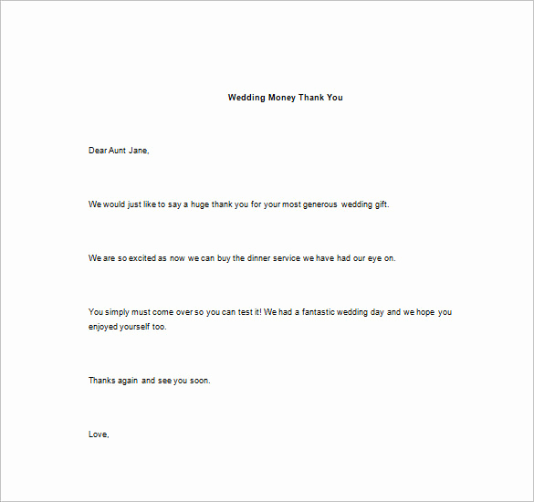 Wedding Thank You Note Template Luxury Thank You Note for Money – 8 Free Word Excel Pdf format