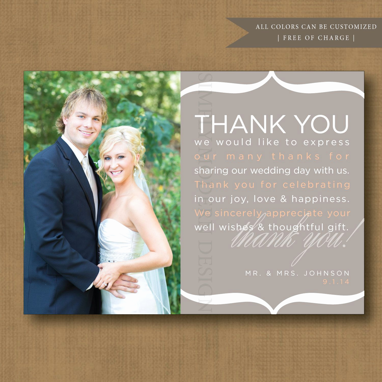Wedding Thank You Note Template Unique Thank You Note Wedding Thank You Card Printable