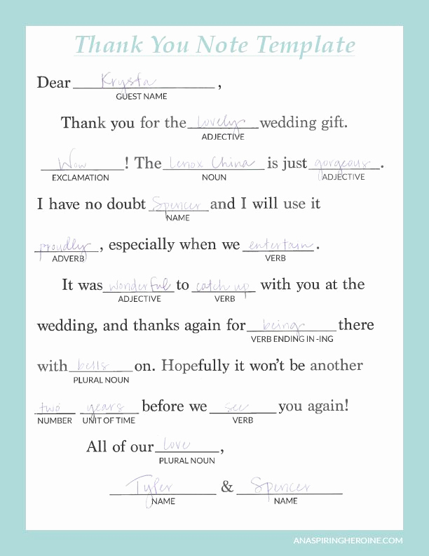 Wedding Thank You Note Template Unique Writing Personalized Wedding Thank You Notes
