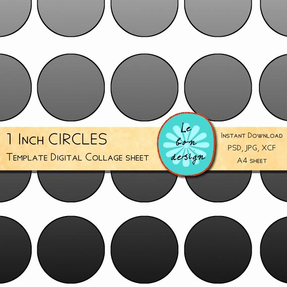 1 Inch Circle Template New 1 Inch Circle Template 40 Circles Diy Collage Sheet by