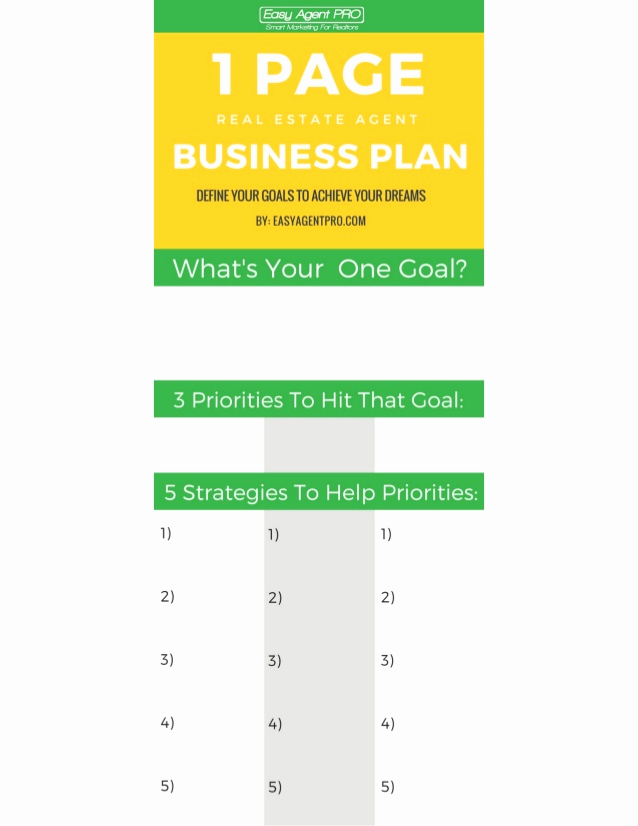 1 Page Business Plan Luxury the E Page Real Estate Business Plan Template
