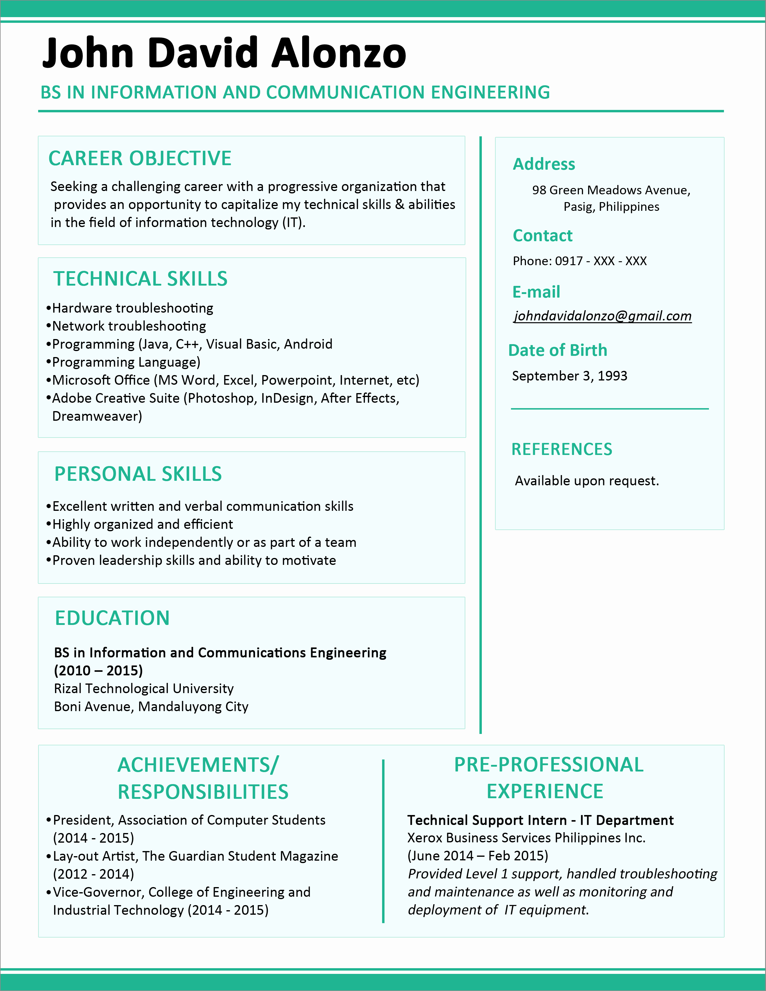 1 Page Resume Template Beautiful Sample Resume format for Fresh Graduates E Page format