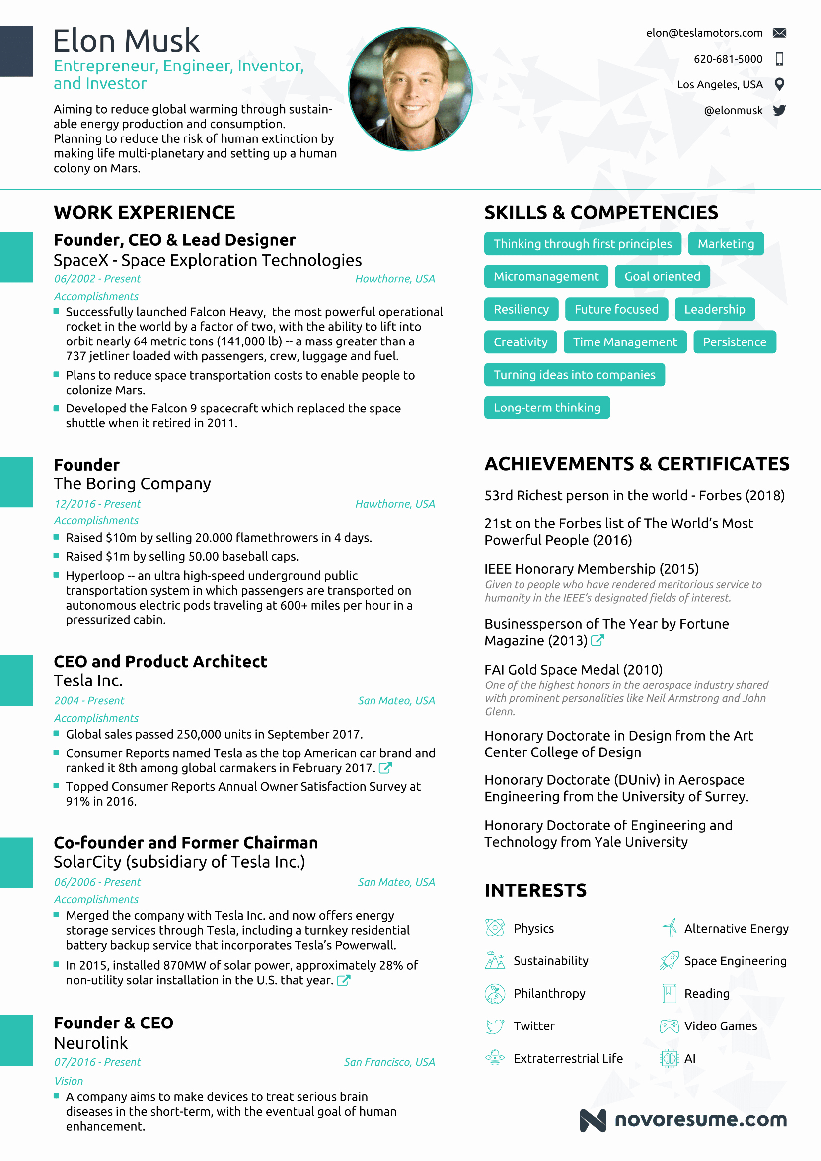 1 Page Resume Template Best Of the Résumé Of Elon Musk by Novorésumé