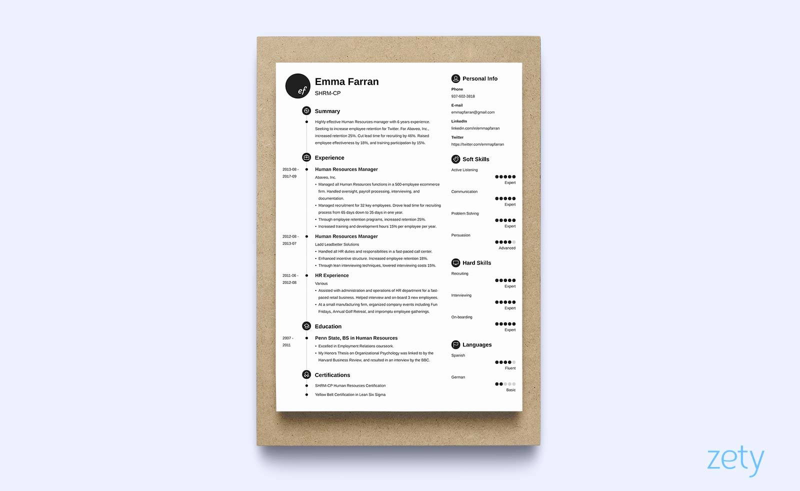 1 Page Resume Template Fresh E Page Resume Templates 15 Examples to Download and Use now