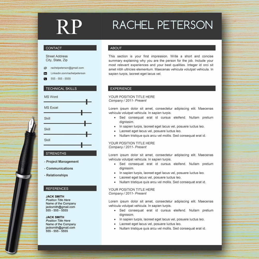 1 Page Resume Template Lovely Professional E Page Resume Template for Microsoft Word