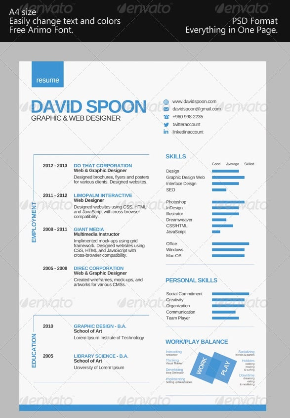 1 Page Resume Template Luxury Awesome Free Resume Cv Templates 56pixels
