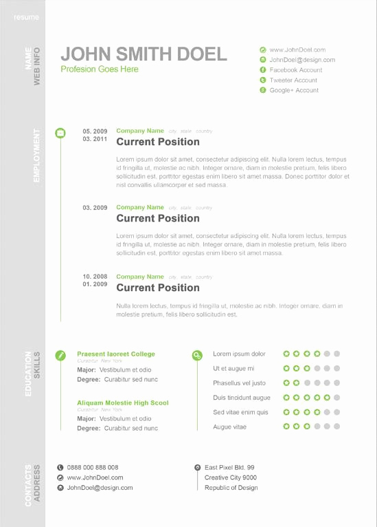 1 Page Resume Template Luxury Modern One Page Resume Template