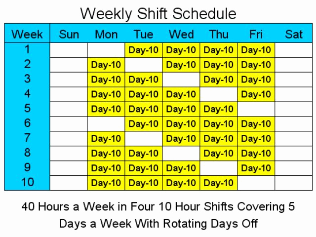 12 Hour Shift Schedule Fresh 10 Hour Schedules for 5 Days A Week 1 2 Free Download